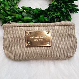 MICHAEL KORS Cream Gold Canvas Mini Coin Bag